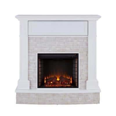 Johnna 48 in. Faux Stone Media Electric Fireplace in White