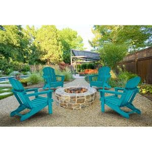 DECO Turquoise Folding Poly Outdoor Adirondack Chair (Set of 4)