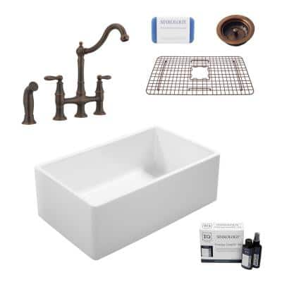 Ward All-in-One Farmhouse Fireclay 33 in. Single Bowl Kitchen Sink with Pfister Bridge Faucet in Bronze and Strainer