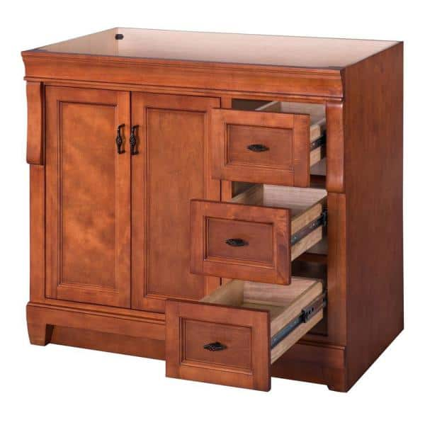 Home Decorators Collection Naples 36 In W Bath Vanity Cabinet Only In Warm Cinnamon With Right Hand Drawers Naca3621d The Home Depot