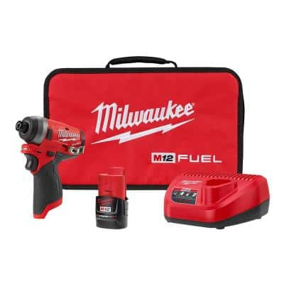 M12 FUEL 12-Volt Lithium-Ion Brushless Cordless 1/4 in. Hex Impact Driver Kit with One 2.0 Ah Battery, Charger and Bag