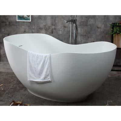 66 in. Stone Resin Flatbottom Bathtub in Matte White