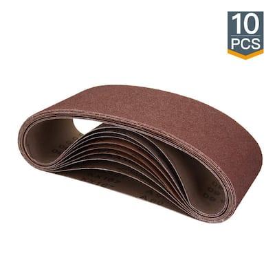 4 in. x 24 in. 120-Grit Aluminum Oxide Sanding Belt (10-Pack)