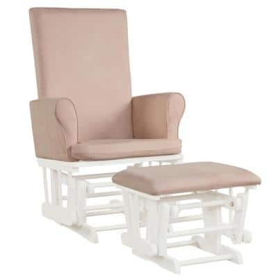 Pink Baby Nursery Relax Rocker Rocking Chair Glider and Ottoman Set Bench with Cushion