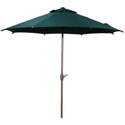 9 ft. Outdoor Market Patio Umbrella with Push Button Tilt and Crank, Dark Green