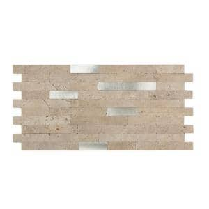 11.75 in. x 12 in. Metal and Composite Peel and Stick Backsplash in Biscuit