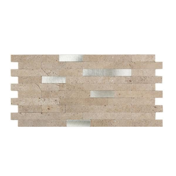 Aspect 11 75 In X 12 In Metal And Composite Peel And Stick Backsplash In Biscuit Ac000 The Home Depot