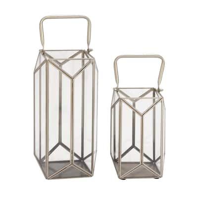 Silver Glass Modern Candle Lantern (Set of 2)