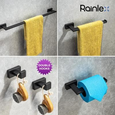Ocean 5-Piece Bath Hardware Set with Double Hooks Towel Ring Toilet Paper Holder 24 and 8 in. Towel Bar in Matte Black
