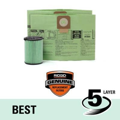 OSHA Compatible Kit with HEPA Level Filtration and Cyclonic Dust Bags for Select 12 -16 Gal. Wet/Dry Shop Vacuums