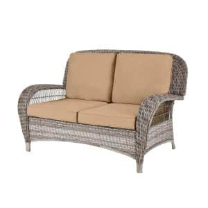 Beacon Park Gray Wicker Outdoor Patio Loveseat with CushionGuard Toffee Tan Cushions