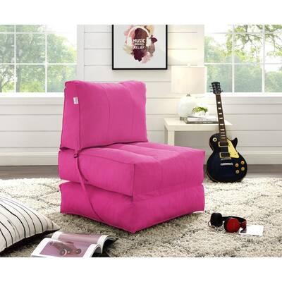 Cloudy Fuchsia Bean Bag Lounger Chair Convertible Nylon Foam Sleeper