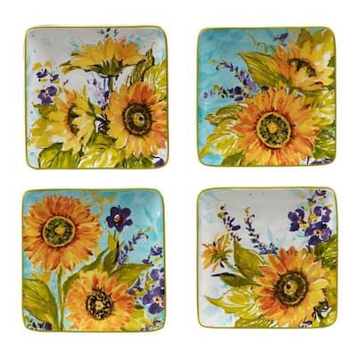 Sun Garden Multicolored Canape Plates (Set of 4)