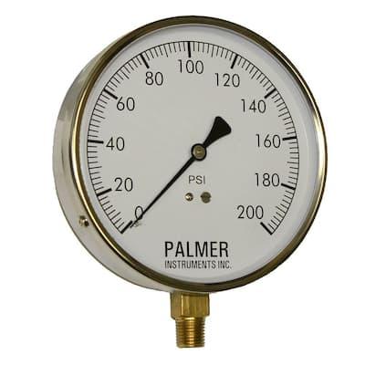 4.5 in. Dial 200 psi Stainless Steel Case Contractor Gauge