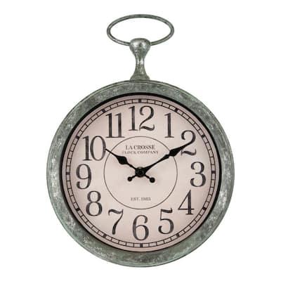 9 in. Vintage Pocket Watch Quartz Analog Wall Clock