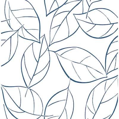 Tossed Leaves Navy Blue Botanical Vinyl Peel & Stick Wallpaper Roll (Covers 30.75 Sq. Ft.)