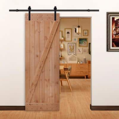 30 in. x 84 in. Ready-to-Assemble Z-Brace Hardwood Knotty Alder Interior Barn Door Slab