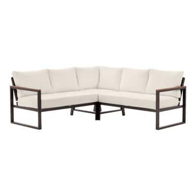 West Park Black Aluminum Outdoor Patio Sectional Sofa Seating Set with CushionGuard Almond Tan Cushions