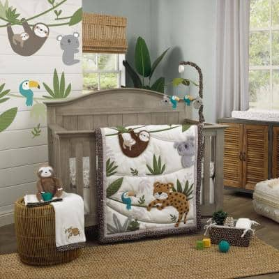 Jungle Gym 4-Piece Nursery Crib Bedding Set Grey BrownandGreenComforter 100% Cotton Fitted Crib Sheet, Skirt and Storage