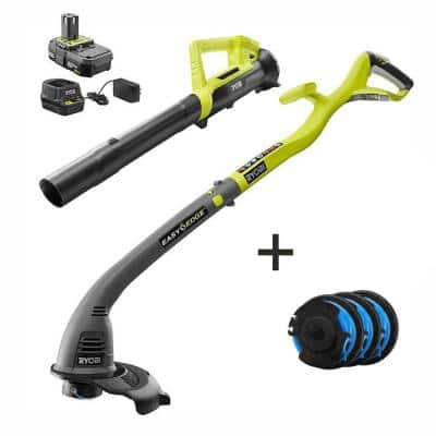 ONE+ 18V Cordless String Trimmer/Edger & Blower/Sweeper with Extra 3-Pack of Spools, 2.0 Ah Battery and Charger