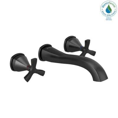 Stryke 2-Handle Wall Mount Bathroom Faucet Trim Kit in Matte Black (Valve Not Included)