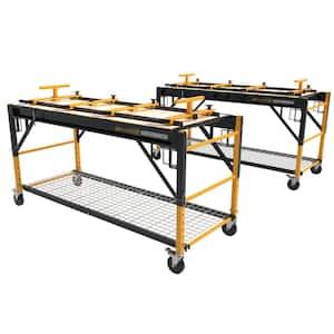 6.23 ft. W x 2.48 ft. D x 3.3 ft. H 1-Story Steel Baker Rolling Scaffold Primary Workbench on Wheels (2-Pack)