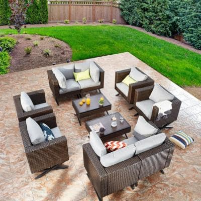 Patio Festival X Leg 10 Piece Wicker Patio Conversation Sectional Seating Set With Gray Cushions Pf20206x2 713x4 714x2 715x2 The Home Depot
