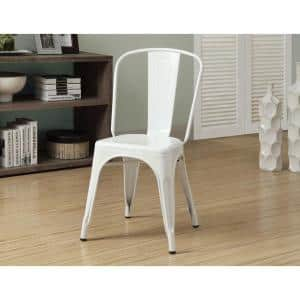 Glossy White Metal Dining Chair (Set of 2)