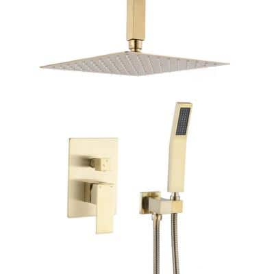 1-Spray Ceiling Mount Square Rainfall Showerhead with Hand Shower and Tub and Faucet in Brushed Gold