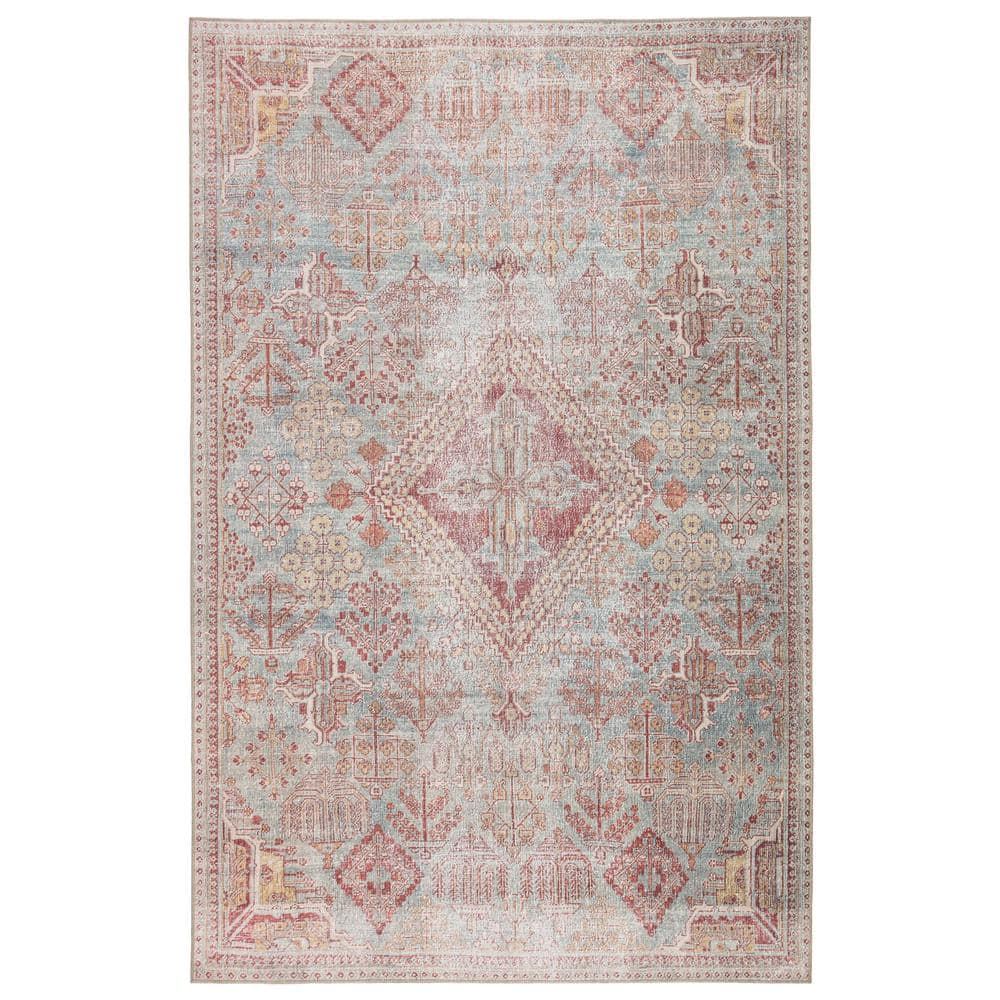 Keinan Indoor Outdoor Sky Blue Pink 5 Ft X 7 Ft 6 In Updated Traditional Rectangle Area Rug Brg146206 The Home Depot