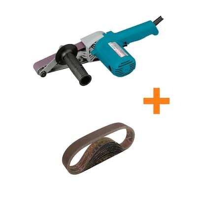 5 Amp Corded 1-1/8 in. x 21 in. Belt Sander with Bonus 1-1/8 in. x 21 in. 80-Grit Abrasive Belt, 10-Pack