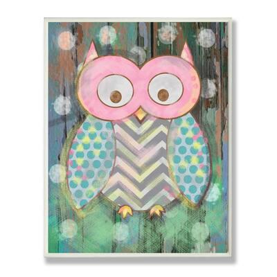 "12.5 in. x 18.5 in. ""Distressed Woodland Owl"" by Reesa Qualia Printed Wood Wall Art"