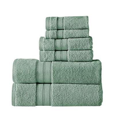 Bergamo 6-Piece Green Spun Loft Towel Set with Twill Weaving