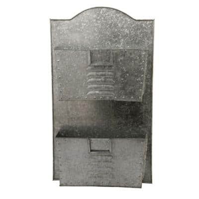 Galvanized Metal Grey 2-Tier Wall Pocket Organizer