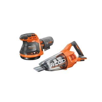 18V Cordless 2-Tool Combo Kit with Hand Vacuum with Nozzles and 18V Cordless 5 in. Random Orbit Sander (Tools Only)
