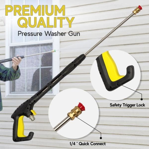 Glossia High Pressure Washer Tool Set with 1//4 Quick Wand Extension 5 Nozzle Tips M22 Fitting 40 Inch 5000 PSI