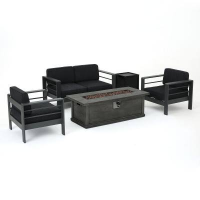 Cape Coral Grey 5-Piece Metal Patio Fire Pit Set with Dark Grey Cushions