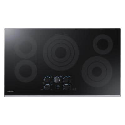 36 in. Radiant Electric Cooktop in Stainless Steel with 5 Elements including Rapid Boil and WiFi