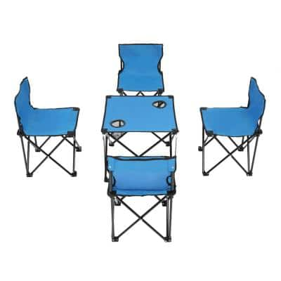 Oxford Blue Cloth and Steel 5-Piece Portable Folding Table and Folding Chair Set