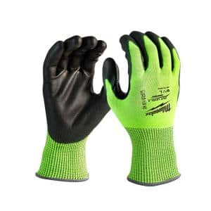 Small High Visibility Level 4 Cut Resistant Polyurethane Dipped Work Gloves (12-Pack)