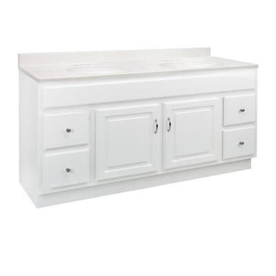 60 in. x 21 in. x 30 in. Bath Vanity in White w/ 4 in. Centerset White on White CM Double Basin Vanity Top
