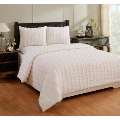 Angelique Comforter 3-Piece Peach Full/Queen 100% Tufted Unique Luxurious Soft Plush Chenille Comforter Set