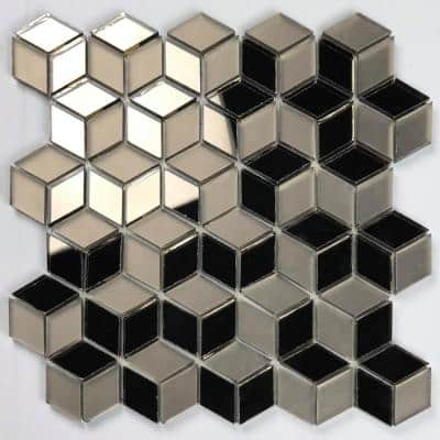 Musico Frosted & Mirrored Gold Diamond Mosaic 2 in. x 2 in. Glass Mirror Peel & Stick Wall Tile (7 Sq. ft./Case)