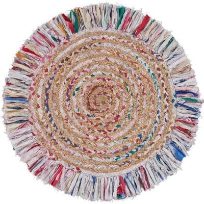 Allen Bleach White/Multi-Color 5 ft. 6 in. Round Chindi Fringed Braided Natural Jute Area Rug