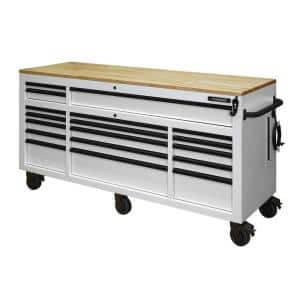 72 in. 18-Drawer Mobile Workbench with Adjustable-Height Solid Wood Top in Matte White