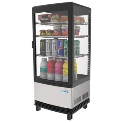 16 in. W 3 cu. Ft. Countertop Commercial Refrigerator Glass Display Beverage Cooler in Stainless Steel
