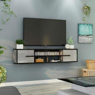 Nowlin 63 in. Faux Cement MDF Floating TV Stand with Sliding Doors Fits Up to 70 in TV