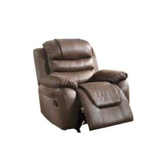 Dark Coffee Brown Leatherette Rocker Recliner