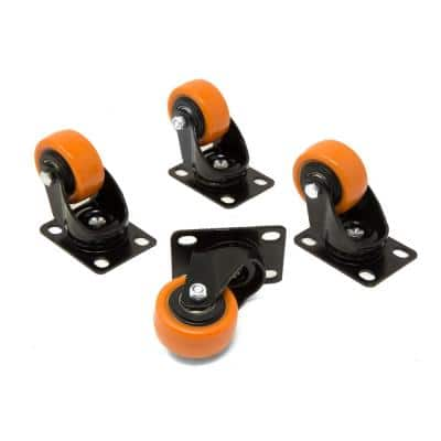 2 in. 155 lbs. Capacity Polyurethane Double-Bearing Swivel Plate Caster (4-Pack)