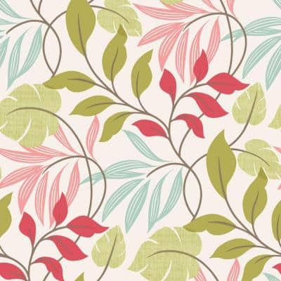 Eden Pink Modern Leaf Trail Strippable Roll Wallpaper (Covers 56 sq. ft.)